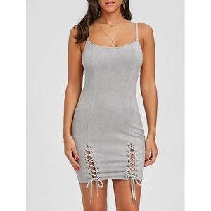 Gray Lace Up Bodycon Mini Dress